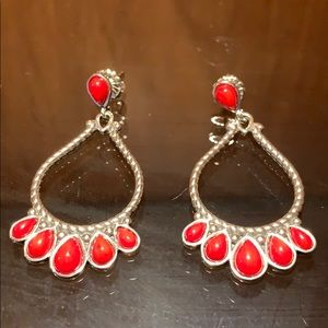 Boutique Sterling Silver and Coral earrings